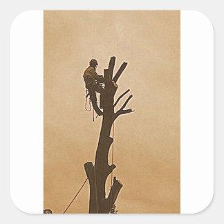 Tree Surgeon Arborist at work present Square Sticker