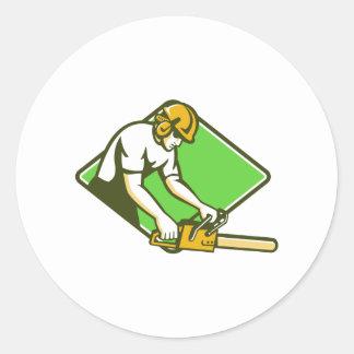 tree surgeon arborist lumberjack chainsaw classic round sticker