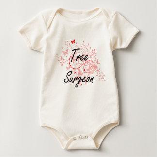 Tree Surgeon Artistic Job Design with Butterflies Baby Bodysuit