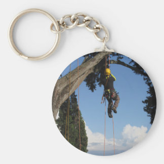 Tree surgeon lumberjack hanging from a big tree keychain