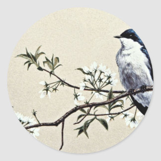 Tree swallow  flowers classic round sticker
