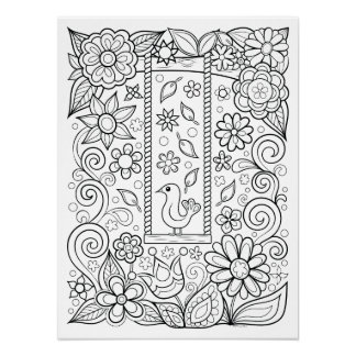 Tree Swing Coloring Poster - Colorable Poster Art