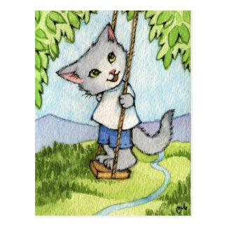 Tree Swing - Cute Cat Art Postcard