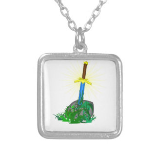 tree sword knife silver plated necklace