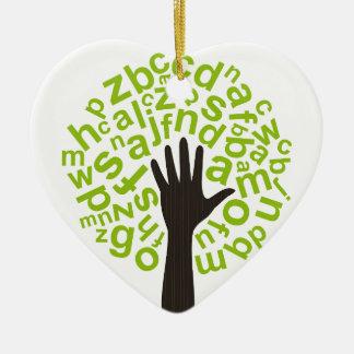 Tree the alphabet ceramic ornament