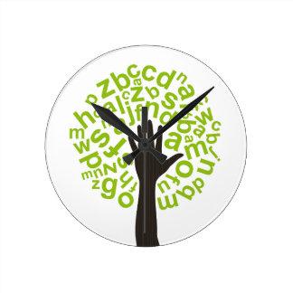 Tree the alphabet round clock