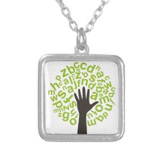 Tree the alphabet silver plated necklace