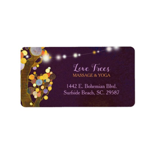 Tree Themed Rustic Purple Business Address Label