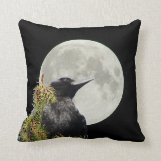 Tree Top Crow Silhouette and Full Moon Throw Pillow