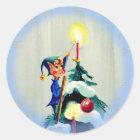 TREE TOP ELF by SHARON SHARPE Classic Round Sticker