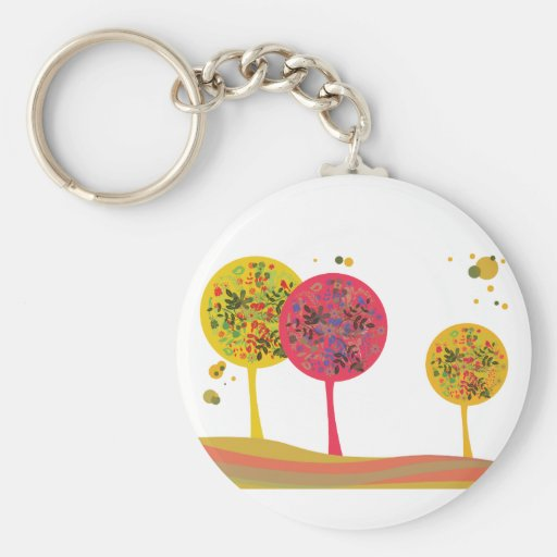 Tree ~ Trees Landscape Flowers Key Chain