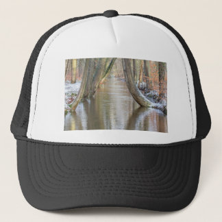 Tree trunks and forest stream  with snow in winter trucker hat