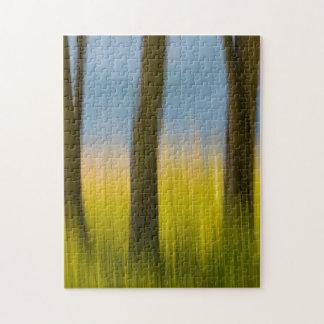 Tree Trunks and Grass | San Juan Islands, WA Jigsaw Puzzle