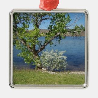 Tree with Bush on Lake Silver-Colored Square Ornament