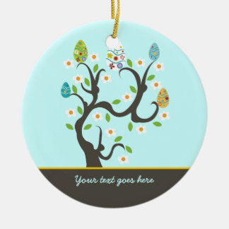 Tree with Easter eggs and flowers custom ornament