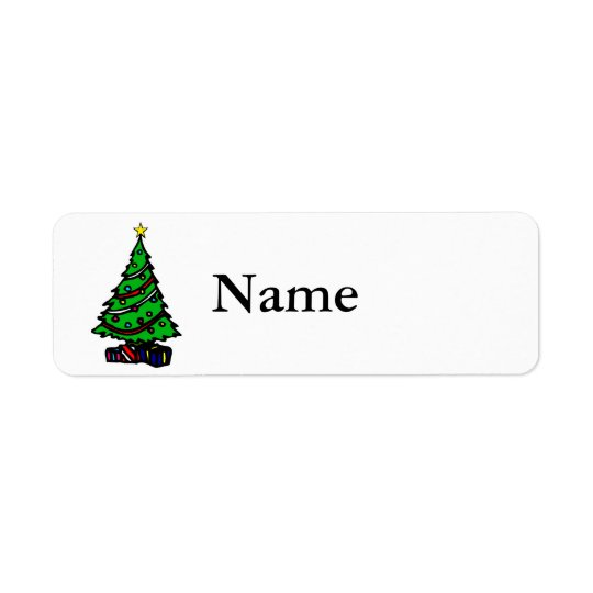 Tree with packages return address label