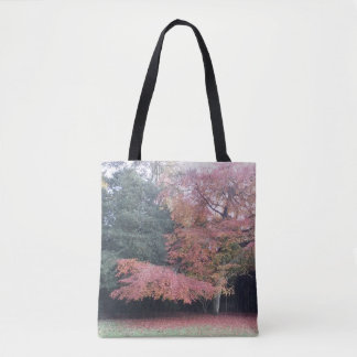 Tree with pink leaves autumn colours tote bag
