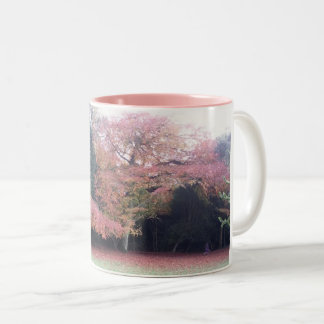 Tree with pink leaves pretty autumn colours Two-Tone coffee mug