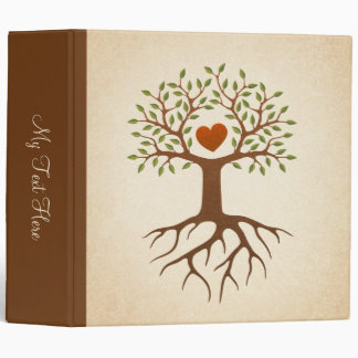 Tree with roots and branches surrounding a heart vinyl binders