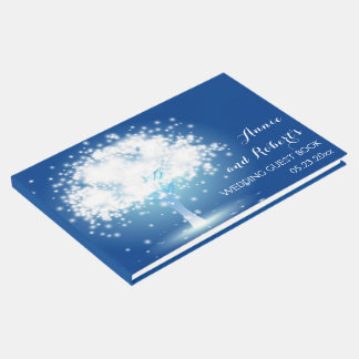 Tree with sparkling lights blue wedding guest book