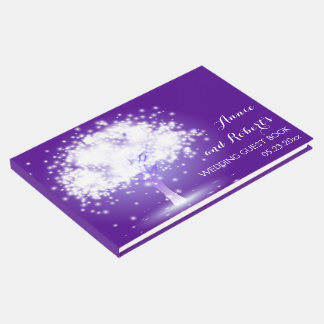 Tree with sparkling lights purple wedding guest book
