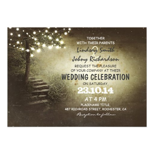 tree with string lights rustic wedding invitations