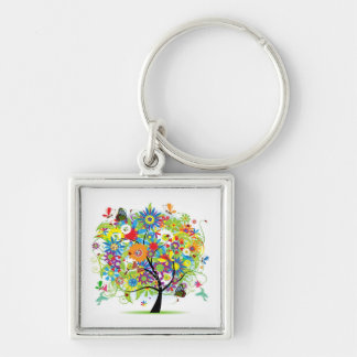 Tree With Things In Nature Silver-Colored Square Keychain