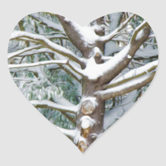 Tree with white fluffy snow heart sticker