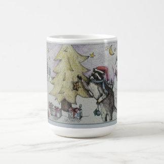 treee decorating raccoon basic white mug