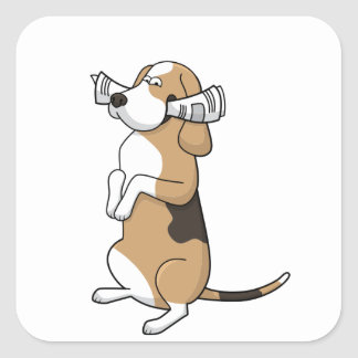 treeing walker coonhound cartoon with paper square sticker