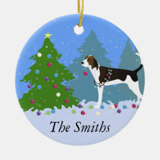Treeing Walker Coonhound Decorating Christmas Tree Round Ceramic Ornament