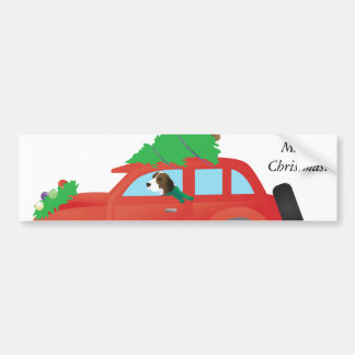 Treeing Walker Coonhound driving a Christmas Car Bumper Sticker