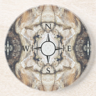 Treemo All Natural Wood Compass Pattern Coaster