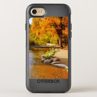 trees and a river in fall phone case