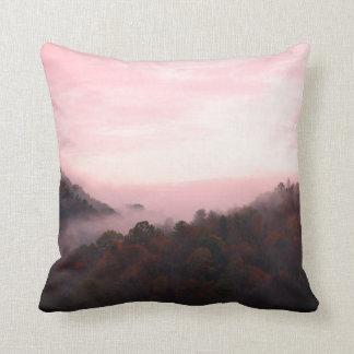 Trees And Fog Sangria Throw Pillow