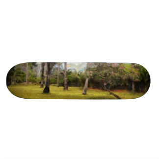 Trees and grass skate board deck