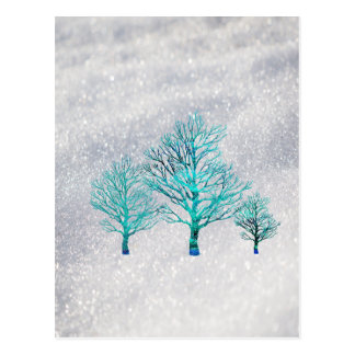 Trees and Snow Crystals Postcard