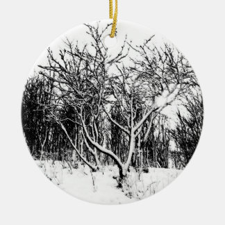Trees and Snow Scene, Black and White Ceramic Ornament