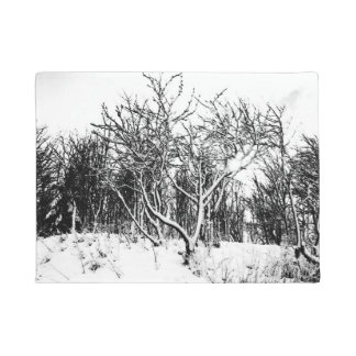 Trees and Snow Scene, Black and White Doormat