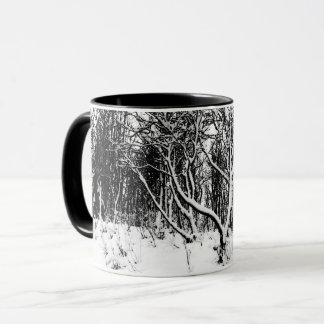 Trees and Snow Scene, Black and White Mug