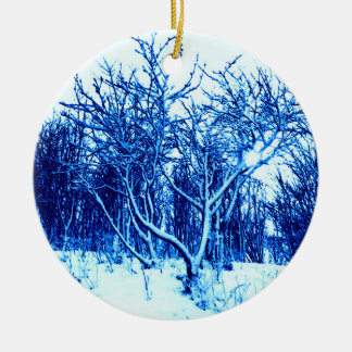 Trees and Snow Scene, Cobalt Blue Ceramic Ornament
