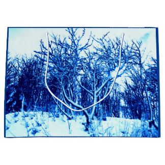 Trees and Snow Scene, Cobalt Blue Large Gift Bag