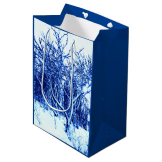 Trees and Snow Scene, Cobalt Blue Medium Gift Bag