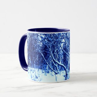 Trees and Snow Scene, Cobalt Blue Mug