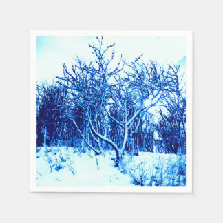 Trees and Snow Scene, Cobalt Blue Paper Napkin