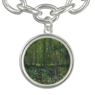 Trees and Undergrowth by Vincent Van Gogh Charm Bracelets