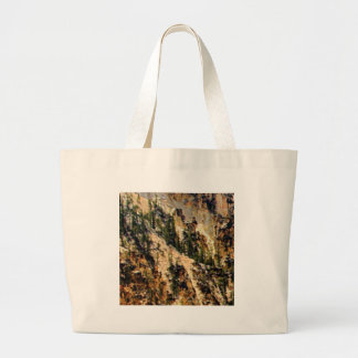 trees and yellow slope large tote bag