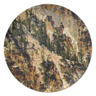 trees and yellow slope plate