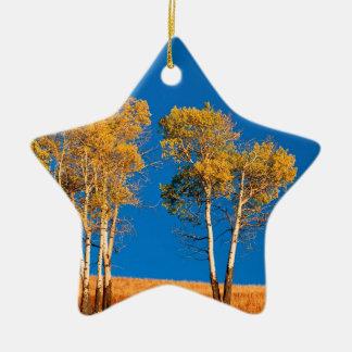 Trees Autumn Aspen Yellowstone Wyoming Ceramic Ornament