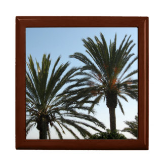 Trees Beach Palm Trees Tile Gift Box, Golden Oak Gift Box